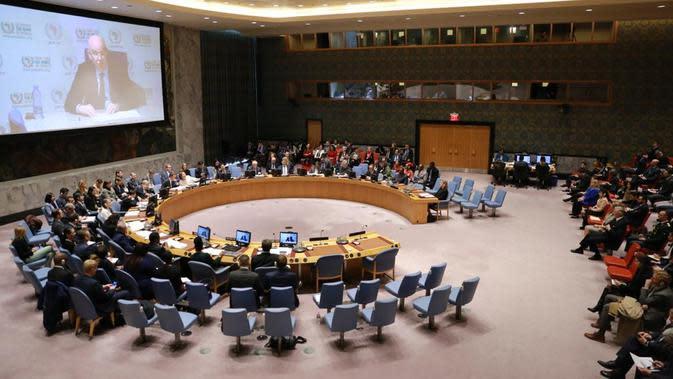 Sidang Briefing Dewan Keamanan PBB (DK PBB) mengenai Anak-anak dalam Konflik Bersenjata (Security Council Briefing on Children in Armed Conflict) di Markas Besar PBB di New York, Rabu, 12 Februari 2020. (Source: Kemlu RI)