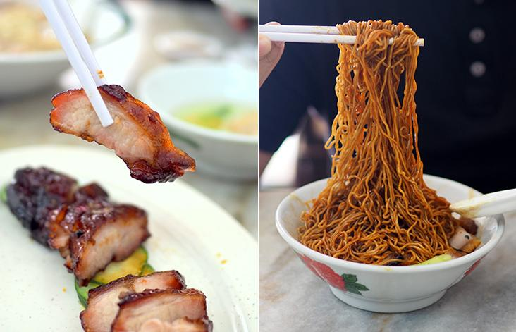 The 'char siew' has meat marbled with fat for a satisfying bite (left). The 'wantan' noodles served here have a nice, springy texture as they use duck eggs (right)