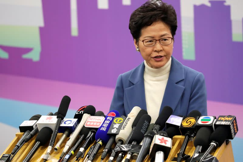 Hong Kong Chief Executive Carrie Lam attends a news conference in Beijing