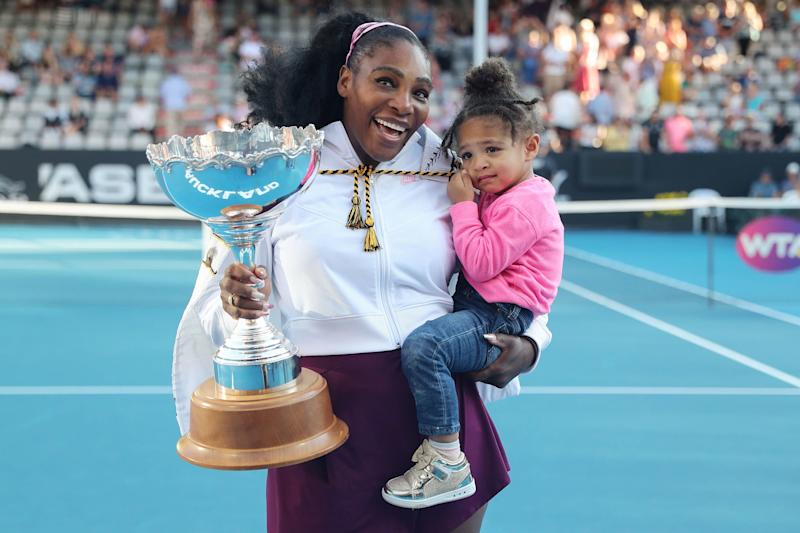 """The tennis pro's first inspirational mom moment happened before her daughter, Alexis, was born, when she <a href=""""https://people.com/sports/serena-williams-won-australian-open-pregnant/"""">won the Australian Open while pregnant</a>. In a close second, though, comes when she won her first title since giving birth on Jan. 12, 2020.  The G.O.A.T. celebrated with her daughter, and <a href=""""https://people.com/sports/serena-williams-wins-first-title-since-welcoming-daughter/"""">donated her winner's check of $43,000</a> to Australian wildfire relief."""