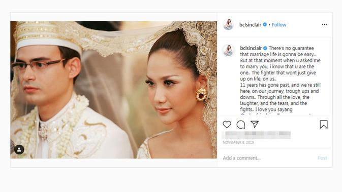 Momen pernikahan Bunga Citra Lestari dan Ashraf Sinclair. (dok. Instagram @bclsinclair/https://www.instagram.com/p/B4lyQrfF-L6/Putu Elmira)