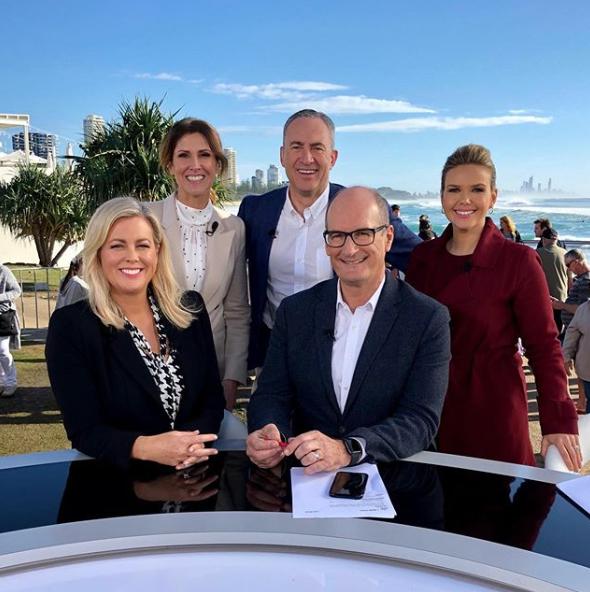 The weekday Sunrise team: Samantha Armytage, Natalie Barr, Mark Beretta, David 'Kochie' Koch and Edwina Bartholomew. Photo: Instagram/sunriseon7
