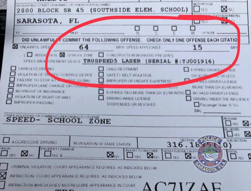 The Sarasota Police Department citation.