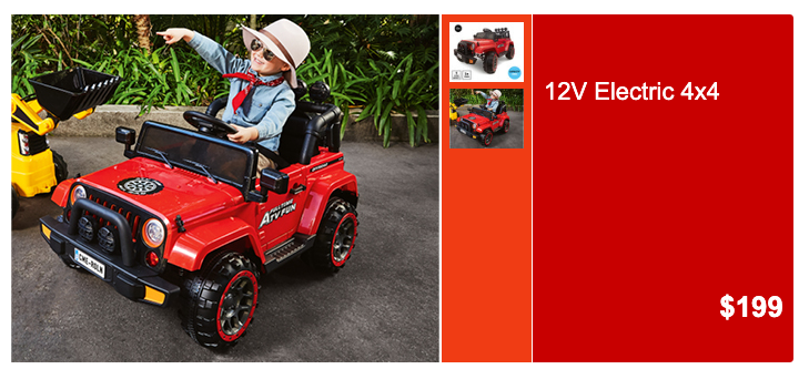 Children's ride-on 4-wheel-drive, selling for $199 at Aldi.