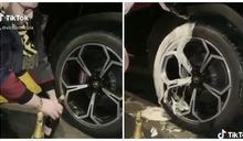 有錢就是任性!歐洲富二代網紅拍片 竟用「香檳洗車輪」