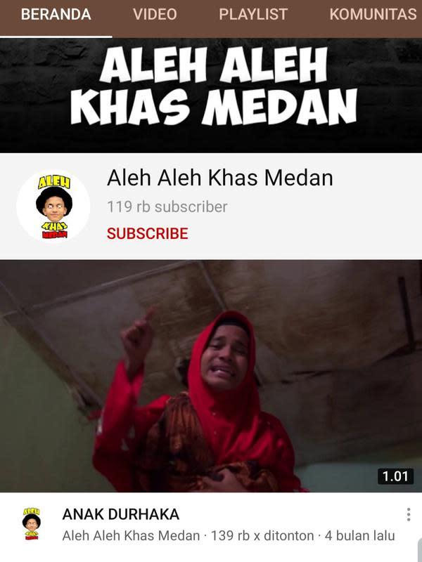 Beranda kanal YouTube Aleh Aleh Khas Medan. (Foto: Dok. YouTube)