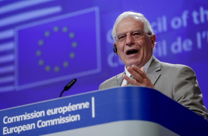 European Union foreign policy chief Josep Borrell addresses a video press conference at the conclusion of a video conference of EU foreign affairs ministers in Brussels, Wednesday, April 22, 2020. (Olivier Hoslet, Pool Photo via AP)