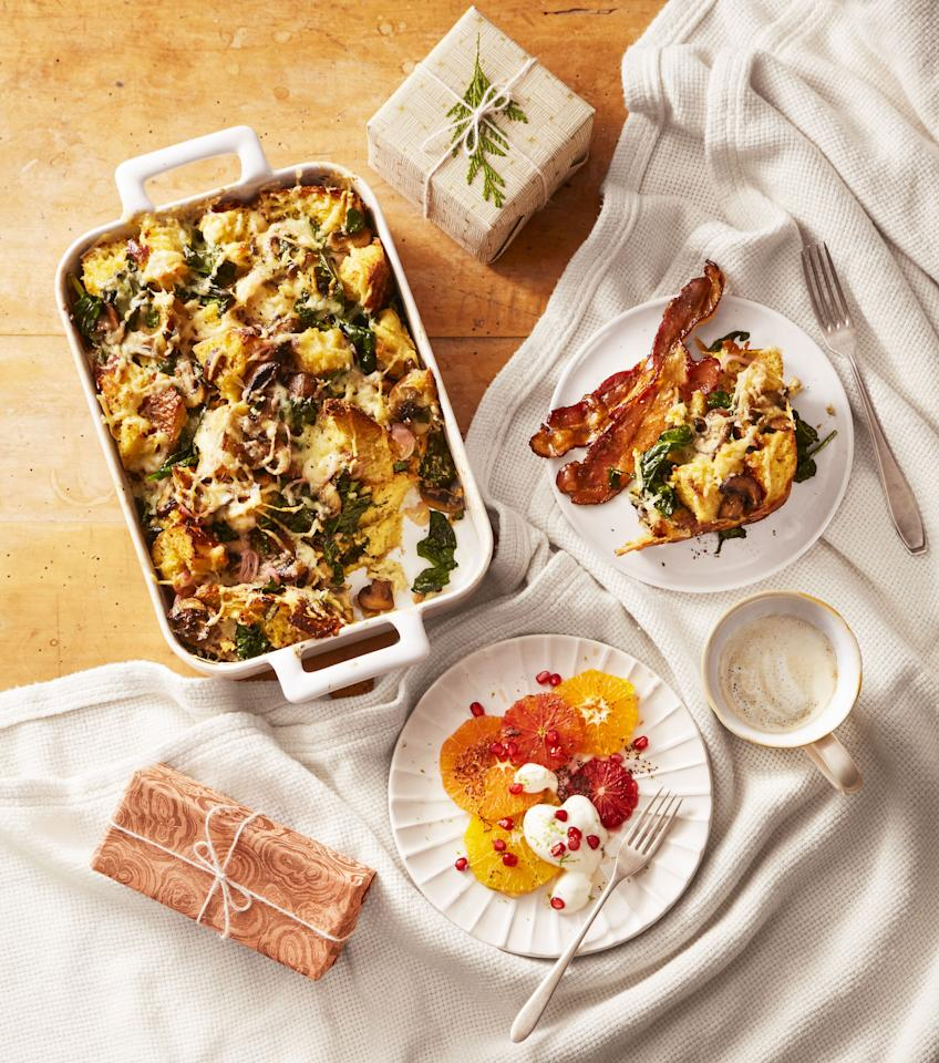 """<p>Thanksgiving is all about the <a href=""""https://www.goodhousekeeping.com/holidays/thanksgiving-ideas/g1918/thanksgiving-dinner-recipes/"""">dinner</a> — but you can't just eat one meal a day! And no one wants to be hangry as you wait for the turkey to be served. An easy and delicious breakfast gives the energy you need for a day of socializing — and even more eating. You can also whip these up for the next morning if you are having family stay over after dinner. While some may fast all day in preparation for the big feast, we prefer to double-down and kick off a celebratory day with any of these special breakfast recipes. From sweet and spicy breakfast options that mimic the flavors of pumpkin pie to savory and filling toasts, sandwiches and casseroles, there are so many ways to start the Turkey Day festivities nice n' early.</p><p>Rise and shine to an easy overnight breakfast that you just pop in the oven while brewing your coffee or serve up a flavor-packed classic (french toast! pancakes!) that you could practically make in your sleep. After all, you'll need your energy for the <a href=""""https://www.goodhousekeeping.com/holidays/thanksgiving-ideas/g4689/thanksgiving-turkey-recipes/"""">Thanksgiving turkey</a>, of course, plus the endless <a href=""""https://www.goodhousekeeping.com/holidays/thanksgiving-ideas/g1202/thanksgiving-side-dishes/"""">side dish recipes</a> (mashed potatoes, <a href=""""https://www.goodhousekeeping.com/holidays/thanksgiving-ideas/g1355/turkey-stuffing-recipes/"""">turkey stuffing</a>, green bean casserole, you name it), and the obligatory <a href=""""https://www.goodhousekeeping.com/holidays/thanksgiving-ideas/g1532/thanksgiving-desserts/"""">Thanksgiving desserts</a> (a.k.a pie, pie, and more pie).</p><p>Or maybe you're skipping the big dinner this year? Try one of our Thanksgiving <a href=""""https://www.goodhousekeeping.com/food-recipes/g4201/best-brunch-recipes/"""">brunch recipes</a> that are the perfect excuse to stretch your morning into a long, lazy afternoo"""