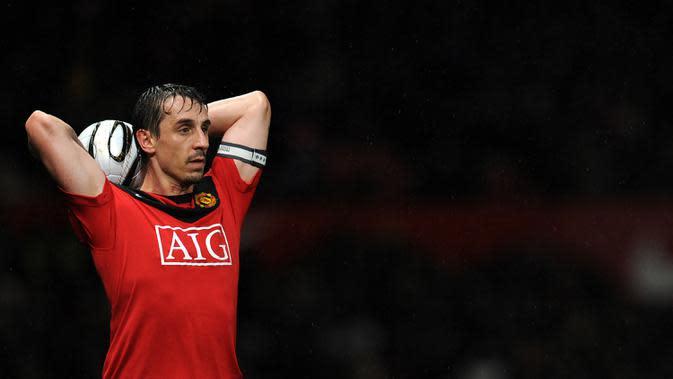 Gary Neville bek legendaris yang sukses besar dengan Manchester United (AFP/Paul Ellis)