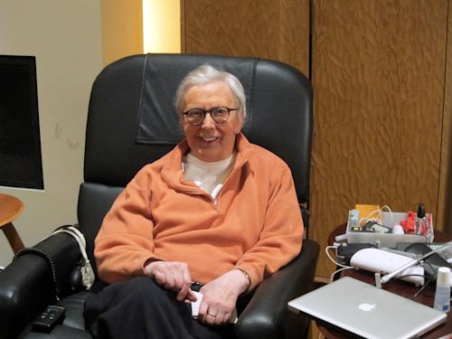 FILE - This January, 2011, file photo provided by Roger Ebert shows the famous film critic wearing a silicone prosthesis over his lower face and neck. The Chicago Sun-Times is reporting that its film critic Roger Ebert died on Thursday, April 4, 2013. He was 70. (AP Photo/Ebert Productions, David Rotter, file)