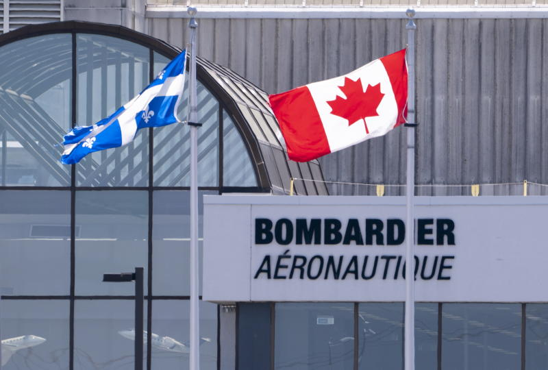 A Bombardier plant is seen in Montreal on Friday, June 5, 2020. Bombardier Aviation is reducing its workforce by about 2,500 employees due to challenges caused by COVID-19. The company said Friday that it had to make the move because business jet deliveries, industry-wide, are forecast to be down approximately 30% year-over-year due to the pandemic. (Paul Chiasson/The Canadian Press via AP)