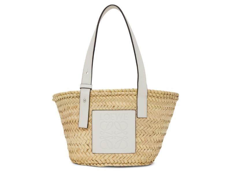 Loewe Beige & White Small Basket Tote. Image via Ssense.