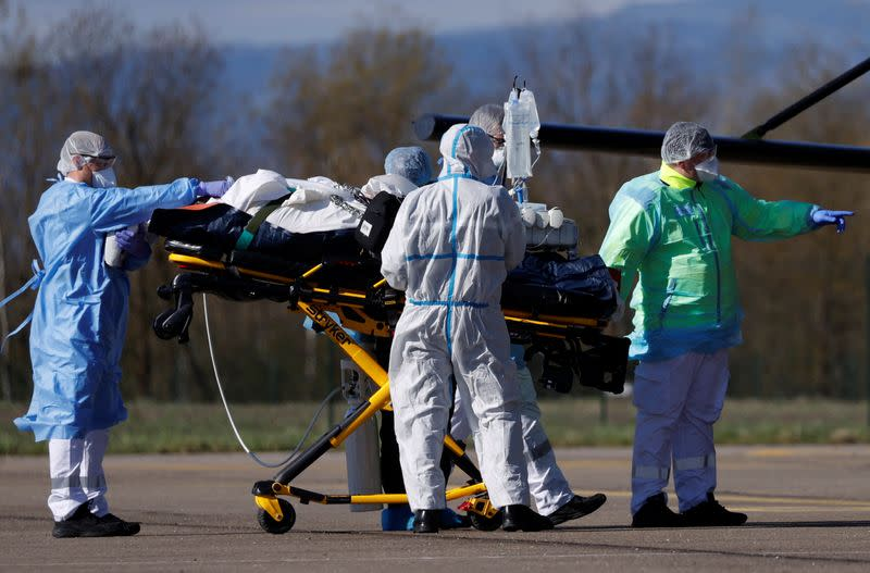Transfer operation of people infected with coronavirus disease (COVID-19) in Strasbourg