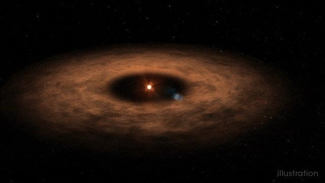 artist's concept shows the dusty disk surrounding the star AU MIcroscopii