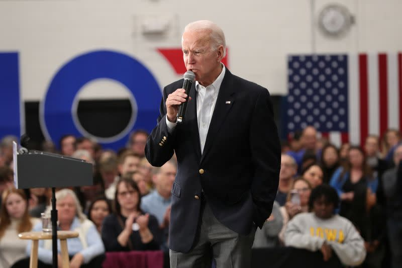 Democratic 2020 U.S. presidential candidate and former Vice President Joe Biden speaks at a campaign event in Des Moines, Iowa,