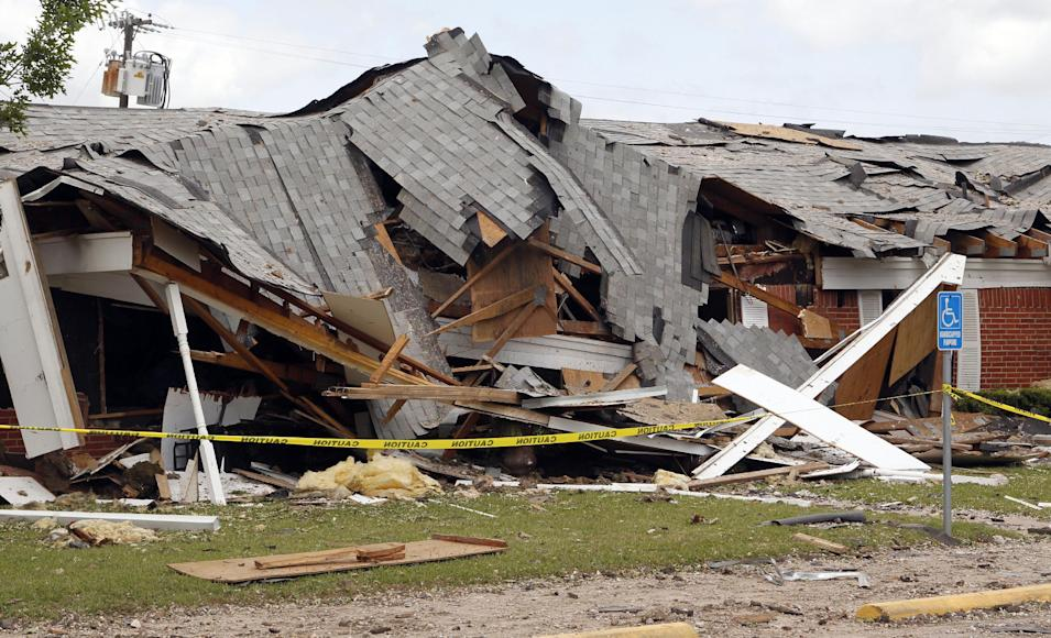 Part of a destroyed nursing home that resulted from an explosion at the West Fertilizer plant, on Sunday, April 21, 2013, in West, Texas. The massive explosion at the West Fertilizer Co. Wednesday night killed 14 people and injured more than 160. (AP Photo/The Dallas Morning News, Michael Ainsworth, Pool)