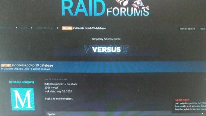 Geger Ratusan Ribu Data Tes COVID-19 Indonesia Dijual Hacker