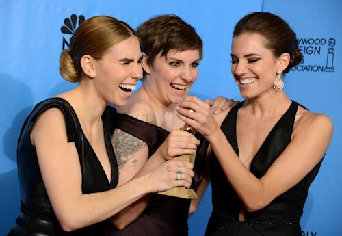 "Zosia Mamet, left, Lena Dunham, center, and Allison Williams pose with the award for best television series - comedy or musical for ""Girls"" backstage at the 70th Annual Golden Globe Awards at the Beverly Hilton Hotel on Sunday Jan. 13, 2013, in Beverly Hills, Calif. (Photo by Jordan Strauss/Invision/AP)"