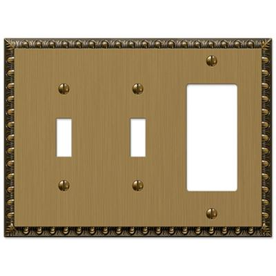 Amerelle Antiquity 3 Gang 2 Toggle And 1 Rocker Metal Wall Plate Brushed Brass Yahoo Shopping