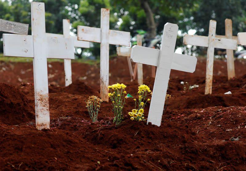 Cemetery area for coronavirus disease (COVID-19) victims in Jakarta