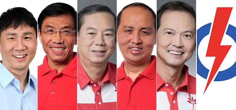 (Left to right) WP's Jamus Lim, SDP's Chee Soon Juan, PSP's Francis Yuen, SDP's Bryan Lim, PSP's Leong Mun Wai and PAP logo. (PHOTOS: Various parties)