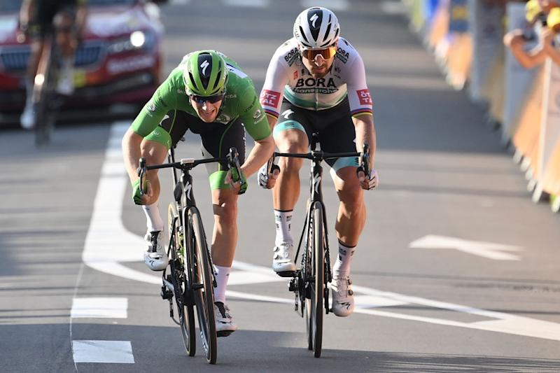 Green-jersey competition leader Sam Bennett (Deceuninck-QuickStep) beats Bora-Hansgrohe's Peter Sagan to eighth place on stage 19 of the 2020 Tour de France