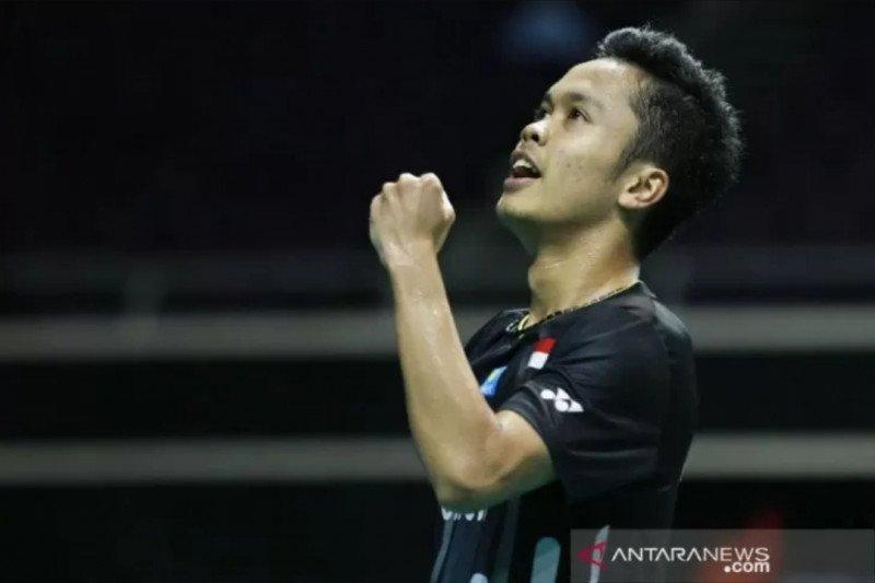 Ginting membuat Indonesia unggul 2-1 pada final bulu tangkis beregu