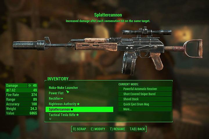 splattercannon, fallout 4, nuka world weapons