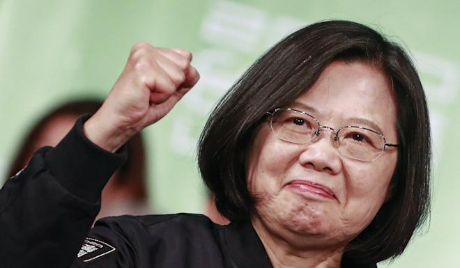 Tsai Ing-wen celebrates her re-election as president of Taiwan on Saturday. Photo: EPA-EFE