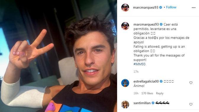 Marc Marquez mengirim pesan usai operasi kedua. (Instagram)