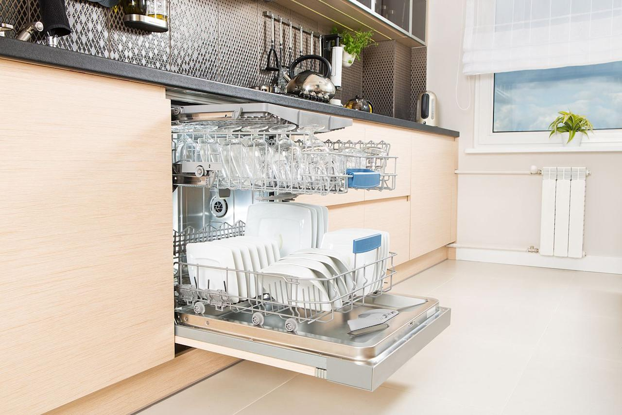 <p>Over time, excess food and grime will build up in your dishwasher's interior. Get in the habit of cleaning any remaining bits of foods — beans, pasta, and so on — after each dishwashing cycle. Pull out the bottom rack to look for any leftover food  and remove it with a paper towel to prevent future odors.</p>
