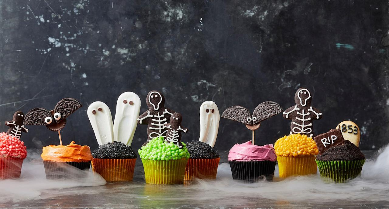 """<p>The entire month of October — the 31st, especially — is basically an open invitation to eat <a href=""""https://www.goodhousekeeping.com/holidays/halloween-ideas/g244/halloween-desserts/"""">Halloween desserts</a> and <a href=""""https://www.goodhousekeeping.com/holidays/halloween-ideas/news/a40935/buy-the-cheapest-halloween-candy/"""">Halloween candy</a> all day, every day. When it comes time to host a <a href=""""https://www.goodhousekeeping.com/holidays/halloween-ideas/g565/halloween-party-ideas/"""">Halloween party</a>, festive and fun Halloween cupcakes should always be on the menu. You're in luck: Any one of these adorable Halloween cupcake ideas will easily add some fright (and sugar!) to your holiday festivities. Whether you opt for box mix, totally homemade, or a combination of the two, try these easy decorating ideas to transform chocolate, vanilla, and spiced cupcakes into a spooktacular treat fit for the most eerie occasion of the year. Bust out the candy eyeballs, plastic spiders, and colored frosting to bring these ghost, witch, zombie, and monster cupcakes back to life (from the dead, of course). Plus, since your kids get a sugar high from trick-or-treating, it's only fair that these Halloween cupcake recipes will help you get your sweet fix. Don't fret — your kids will love 'em, too.</p><p>Looking for more desserts to serve at your party? Add additional eeriness to your dessert table with <a href=""""https://www.goodhousekeeping.com/holidays/halloween-ideas/g3676/easy-halloween-cookie-recipes/"""">delicious Halloween cookies</a> and <a href=""""https://www.goodhousekeeping.com/holidays/halloween-ideas/g2700/halloween-cakes/"""">Halloween cake recipes</a>. Then wash it all down with one of these crowd-pleasing <a href=""""https://www.goodhousekeeping.com/holidays/halloween-ideas/g3718/best-halloween-cocktails/"""">Halloween cocktails</a> or kid-friendly mocktails.</p>"""