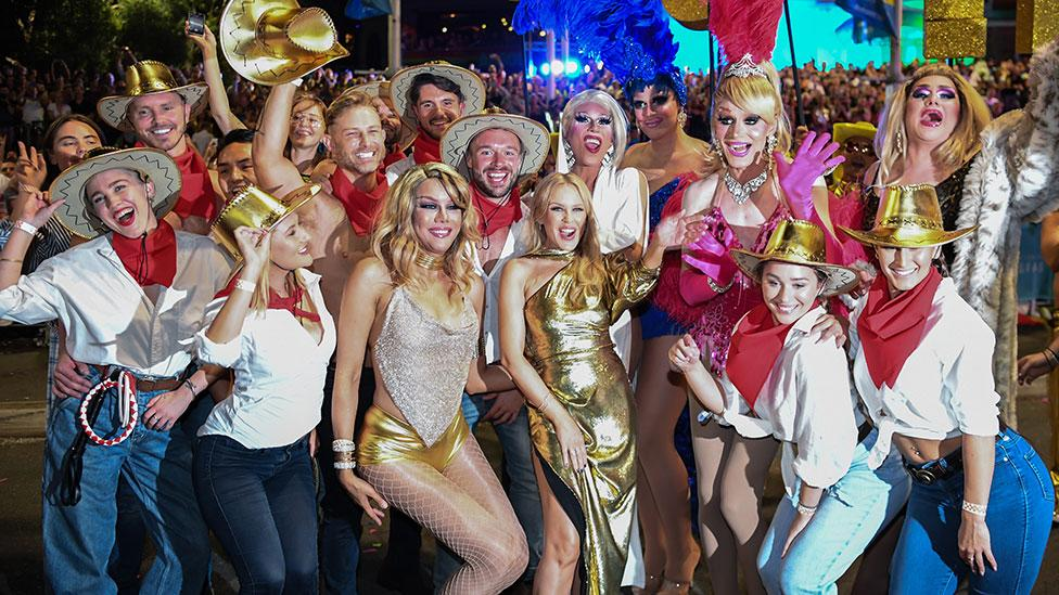 <p>Kylie Monigue made a surprise appearance at Sydney's Mardi Gras parade. Photo: Getty Images </p>