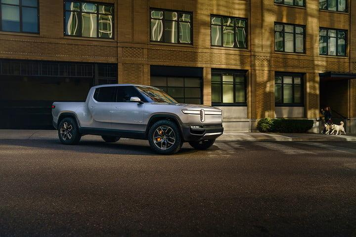 Rivian R1T in the city