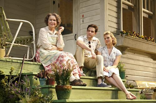 "This undated theater image released by Boneau/Bryan-Brown shows, from left, Ellen Burstyn, Ben Rappaport and Maggie Grace from a production of the Roundabout Theatre Company's ""Picnic."" (AP Photo/Boneau/Bryan-Brown, Joan Marcus)"