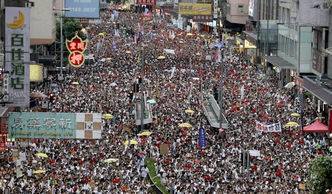 Protesters march from Causeway Bay to government headquarters last year against the extradition bill. Photo: Sam Tsang