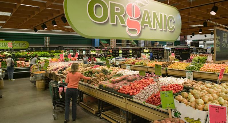 Shopping centre organic fruit and vegetables shown as experts warn against non organic produce.
