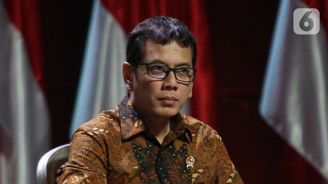 Menparekraf Wishnutama saat diskusi panel VII Rakornas Indonesia Maju antara Pemerintah Pusat dan Forum Koordinasi Pimpinan Daerah (Forkopimda) di Bogor, Jawa Barat, Rabu (13/11/2019). Panel VII membahas transformasi ekonomi II. (Liputan6.com/Herman Zakharia)