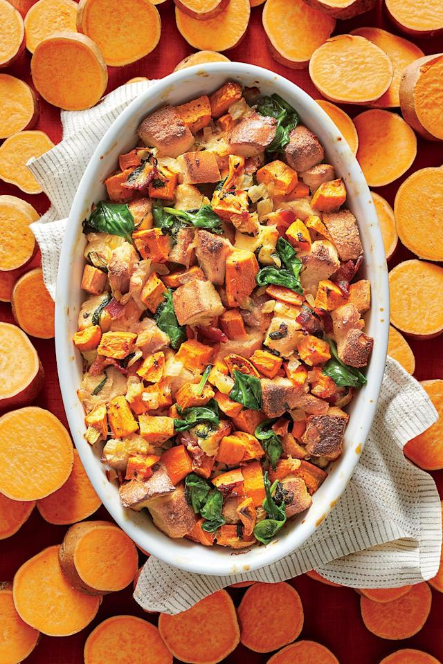 "<p><b>Recipe: <a href=""https://www.southernliving.com/syndication/savory-sweet-potato-bread-pudding"">Savory Sweet Potato Bread Pudding</a></b></p> <p>Whether for brunch or dinner, this twist on bread pudding will be a winner. </p>"