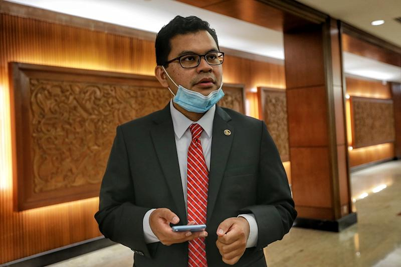 Johor Baru MP Akmal Nasir is pictured at the Parliament building August 10, 2020. — Picture by Ahmad Zamzahuri