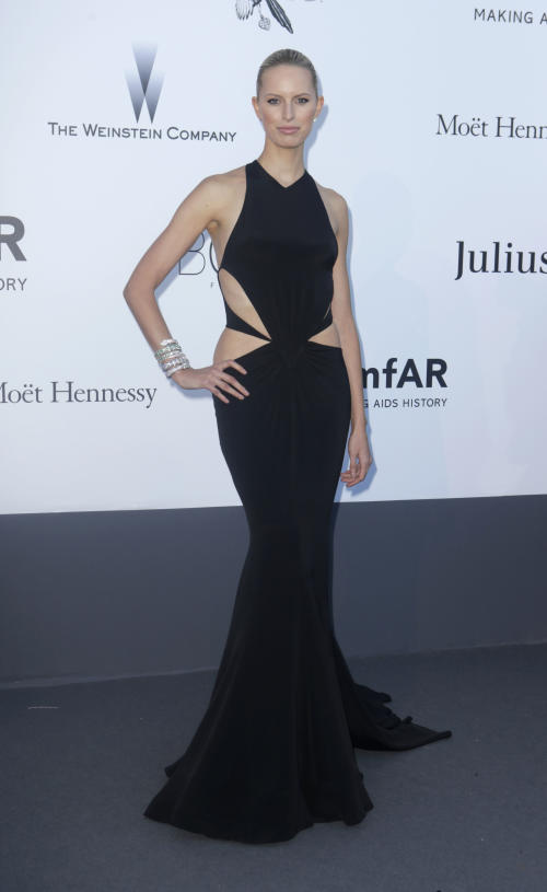 Model Karolina Kurkova arrives at amfAR Cinema Against AIDS benefit at the Hotel du Cap-Eden-Roc, during the 66th international film festival, in Cap d'Antibes, southern France, Thursday, May 23, 2013. (Photo by Joel Ryan/Invision/AP)