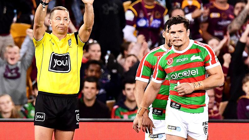 James Roberts of the Rabbitohs is sent to the sin bin for illegal contact with Corey Oates of the Broncos. (Photo by Bradley Kanaris/Getty Images)