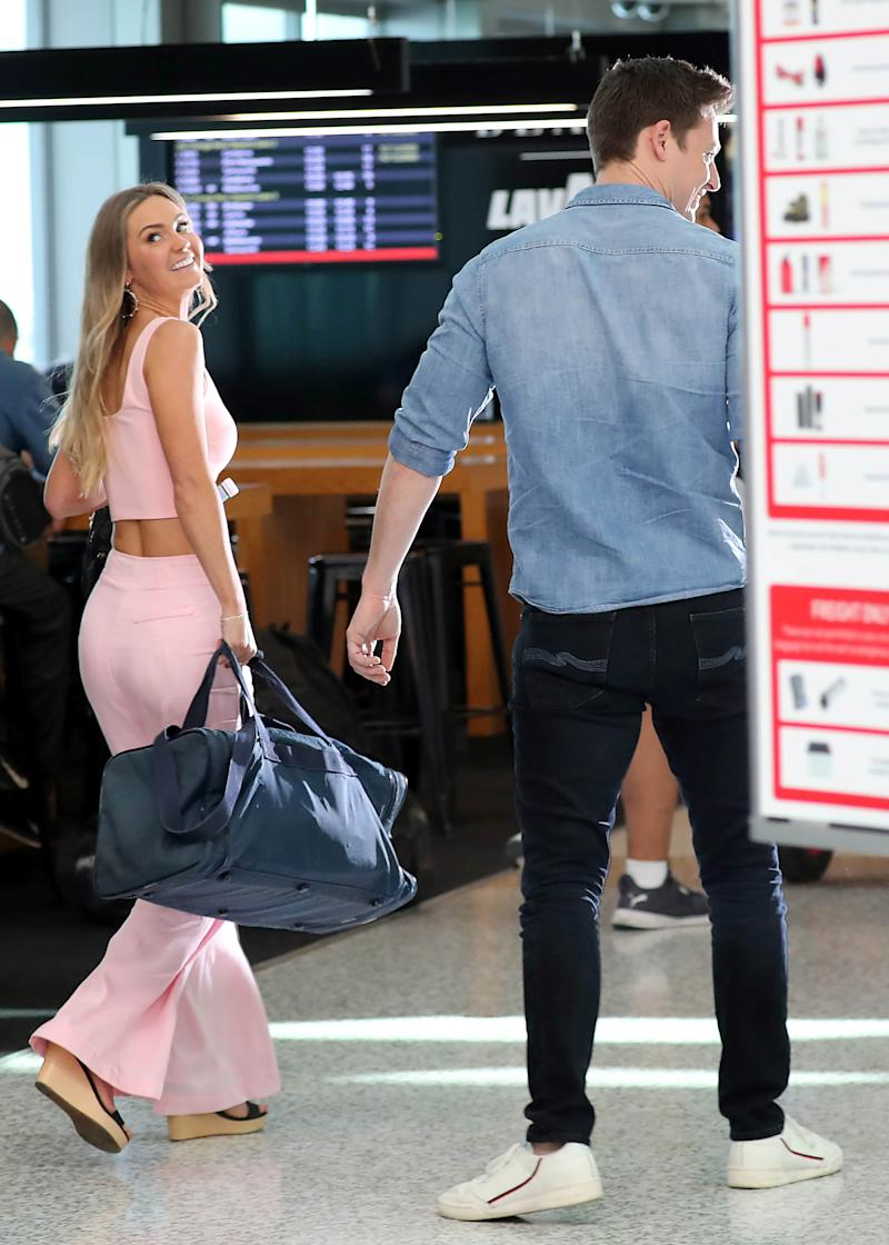 A photo of Matt Agnew and Chelsie McLeod at Sydney airport on Friday September 20. Photo: DIIMEX.