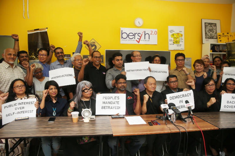 Members of Bersih 2.0 and 34 NGOs pose for a group picture during a press conference February 24, 2020. — Picture by Choo Choy May