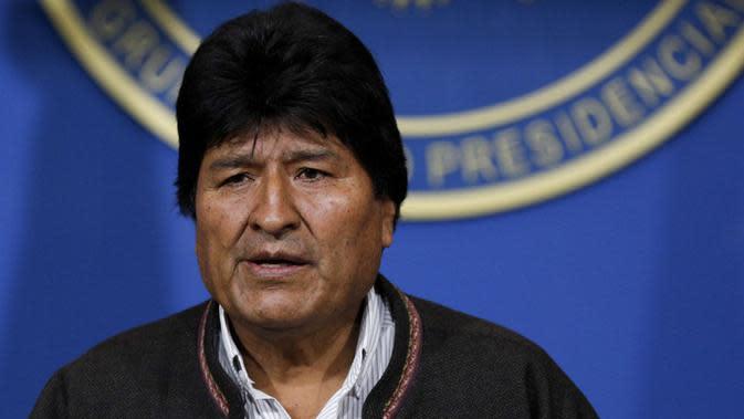 Presiden Bolivia, Evo Morales, resmi mengundurkan diri pada Minggu, 10 November 2019 setelah 13 tahun memerintah negara ini. (AP / Juan Karita)