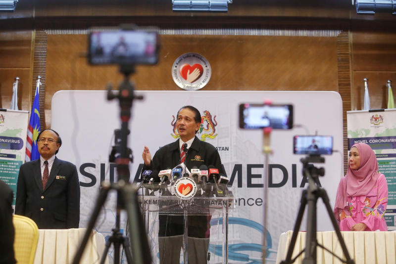 Health director-general Datuk Dr Noor Hisham Abdullah giving a press conference on Covid-19 in MOH , Putrajaya. — Picture by Choo Choy May