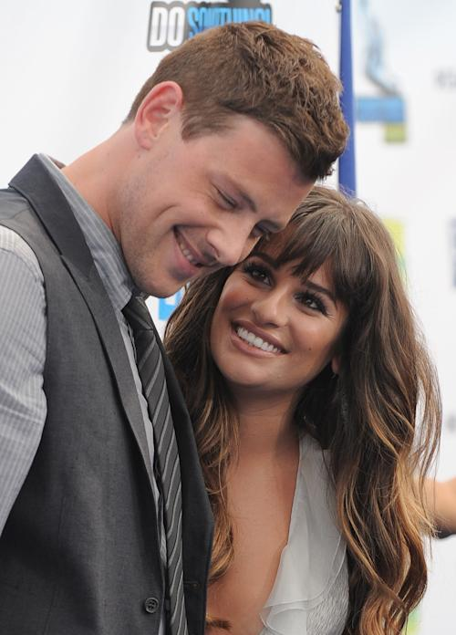 "FILE - This Aug. 19, 2012 file photo shows Cory Monteith, left, and Lea Michele at the 2012 Do Something awards in Santa Monica, Calif. Monteith, who shot to fame in the hit TV series ""Glee"" but was beset by addiction struggles so fierce that he once said he was lucky to be alive, was found dead in a Vancouver hotel room, police said. He was 31. (Photo by Jordan Strauss/Invision/AP, File)"