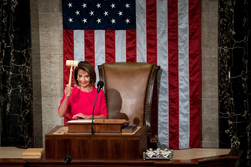 Rep. Nancy Pelosi wields the gavel after her election as Speaker of the House at the Capitol in Washington, D.C. on Jan. 3, 2019. | Erin Schaff—The New York Times/Redux