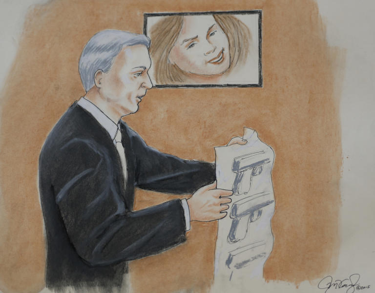 File - In this April 27, 2015, file sketch by courtroom artist Jeff Kandyba, prosecutor George Brauchler makes a point during the opening day of the trial for Aurora, Colo., theatre shooting suspect James Holmes, in Centennial, Colo. Holmes is charged with killing 12 people and wounding 70 more in a July 2012 attack on a suburban Denver movie theater. His attorneys argue he suffers from schizophrenia and was in the grips of a psychotic episode when he opened fire on the packed auditorium during a midnight premier of a Batman movie. Experts say prosecutors are using a an approach to craft a memorable narrative that will hold jurors' attention as the trial continues over more than four months, with scores of witnesses taking the stand.(AP Photo/Jeff Kandyba, file) KCNC-TV, KMGH-TV, KDVR-TV AND KUSA-TV OUT.