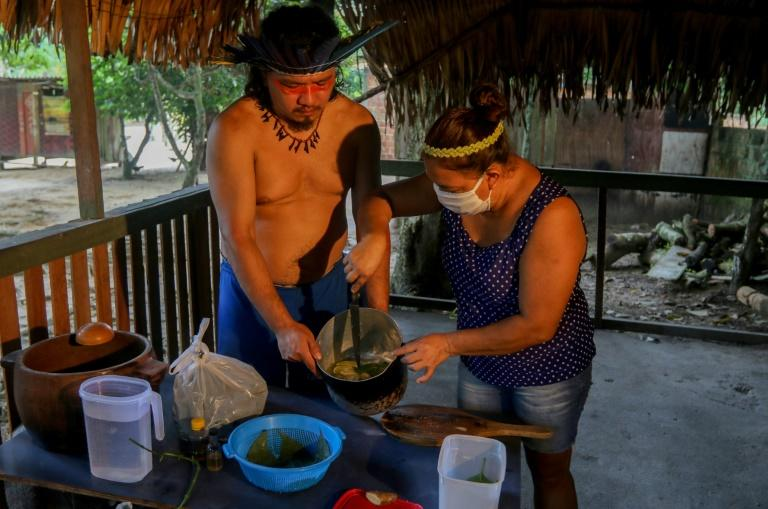 Satere mawe indigenous preparing medicinal herbs to treat people with COVID-19 symptoms